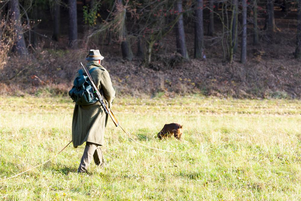 Jäger bei der Nachsuche mit seinem Schweißhund